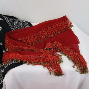 Vintage Red and Gold Belly Dance Hip Scarf